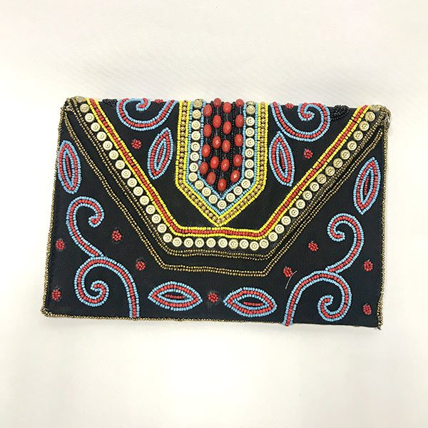 CARTERA DE MANO INDIA NEGRO CON BORDADOS