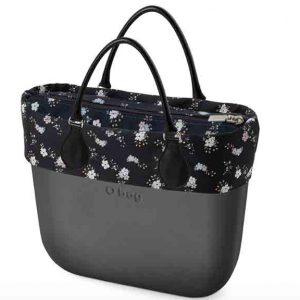 Bolso Obag mini grafito con bolsa y bordes de flores
