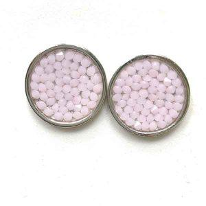 Pendientes Lli en rodio con cristales de swarovski rosa opal