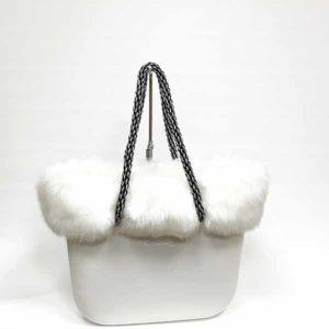 bolso blanco obag con pelo blanco